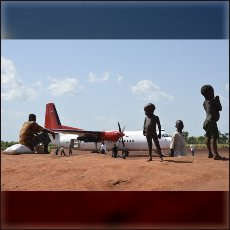 UNHCR airplane after landing on the airstrip in refugee camp Yida, some 60 km inside Republic of South Sudan.