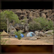 Nuba in the caves of Kowalib Mountains.
