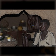 A grandmother and her grandson in their house in the village of Tadoro.